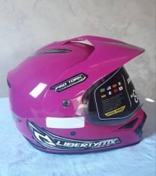Capacete para moto cross Pro Tork Liberty MX Pro Vision rosa tamanho 58