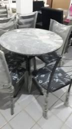 Mesa 4 cadeiras tampo granito redonda ou quadrada  (NOVO)