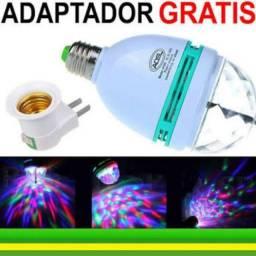 Lâmpada Led Bola Maluca Colorida Rgb Giratória + Adaptador