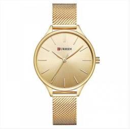 Autentico Relógio Feminino Curren Analógico - Dourado