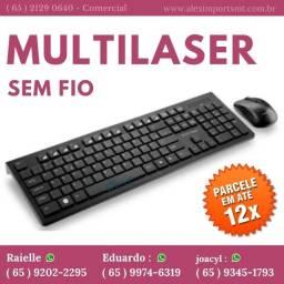 Kit Teclado + Mouse Multilaser sem Fio Multilaser 2.4 Ghz Preto - Tc212 Mause
