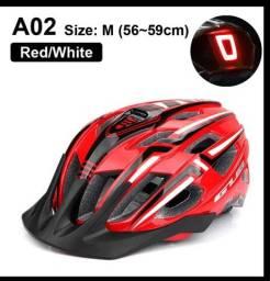 Capacete de bicicleta Luz LED Recarregável Ciclismo Vermelho Novo/ Nfe
