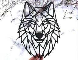 Quadro Lobo em MDF preto, prata ou dourado