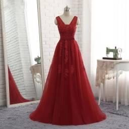 Vestido de Festa Luxo Vermelho Vinho