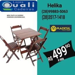 jogo de mesa em madeira 70x70 com cadeiras já envernizadas