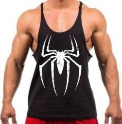 Camiseta Regata Cavada Treino Academia Homem Aranha Preto