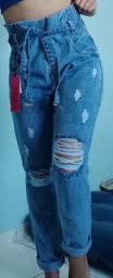 Calça cintura alta jeans