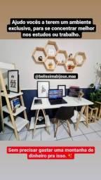 Mesa escrivaninha MDF kit com estante