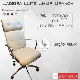 Cadeira Elite Chair Branca Madeira Aparente Base em Alumínio / Nova / NFE