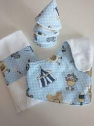 Kit para meninos - Babador atoalhado + tapa pipi + toalhinha