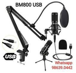 Kit Microfone Condensador Estúdio Bm800 USB + Braço e Tripé (Novo, aceito cartão)