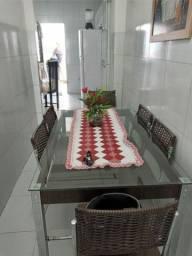 Mesa de Jantar de vidro com 6 cadeiras