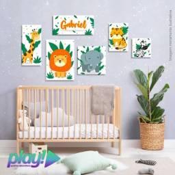 Quadro Decorativo Infantil Jungle ?????<br>6 peças com nome Personalizado