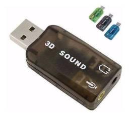 Placa Usb Com 2 Saídas P2 Fone e Microfone