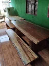 Mesa madeira maciça Pranchão com 2 banco (nova)