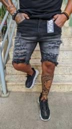 Bermuda jeans masculina original destroyed