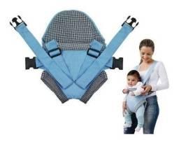 Canguru Ergonômico Passeio Carregador Bebe Mamae Click Azul