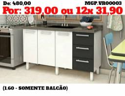 Descontasso em Mato Grosso do SUl - Balcão de Pia 1,60 3 Portas 3 Gavetas - Novos