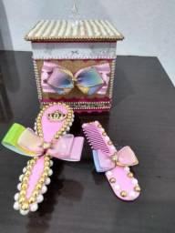 Kit de higiene com caixa de MDF personalizada(escova+pente)
