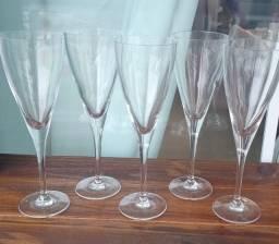Taças cristal 5 unidades novas