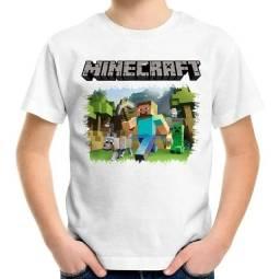 Camisa Infantil Minecraft ENTREGA GRÁTIS
