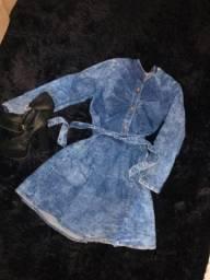 Vestido Jeans de manga comprida usado 2x tamanho M
