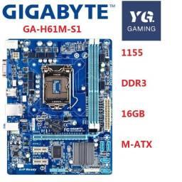 Placa Mãe Gigabyte Ga H61m S1 Lga 1155 Ddr3 + Dual Core 2.70Ghz ( Garantia 30 Dias )