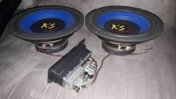 Amplificador classe D 140w RMS automotivo e par de subs de 8 polegadas