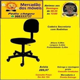 Cadeira Secretaria com rodinhas em até 10x nos cartões. (Entrega grátis)