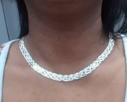 Colar Feminino Trançada 6 Fios De Prata 925 Original