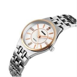 Relógio Feminino Skmei Analógico - Branco (Novo) c/ Caixa x12 Sem Juros