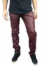 Calça jeans color resinada skinny - marrom - tamanho 38