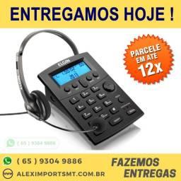 Telefone Telemarketing com Headphone com Identificador Elgin