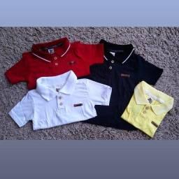 Camisa polo e bermuda jeans infantil masculino