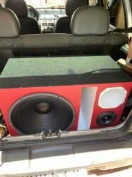Caixa trio Auto falante de 15 + Radio Pionner