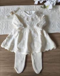 Saída maternidade tricô menina cor off