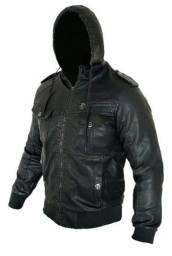 Jaqueta de couro top 2x1 uso com ou sem capuz