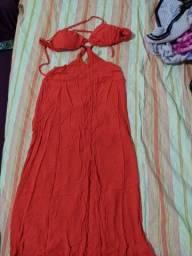 Vestido laranja usado apenas uma vez
