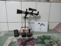 telescópio na caixa +kit controle arcade com moedeiro