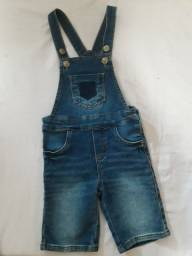 Jardineira jeans unissex 1/2 anos