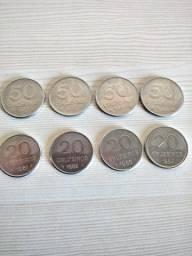 Moedas de 20 e 50 Cruzeiros decada de 1980