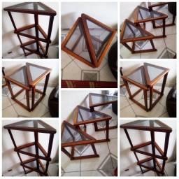 conjunto de mesas de vidro