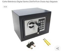 Cofre Eletrônico Digital Senha 23x17x17cm Chave Aço Segredo