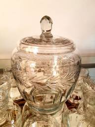 Antiguidade Poncheira Vintage Com 12 Taças De Cristal