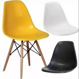 Cadeira Eames Eiffel Branca Preta Amarela