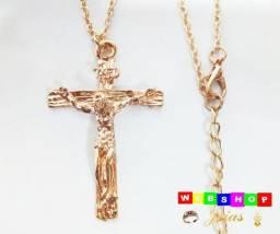 Cordão Corrente Colar Crucifixo Cruz Jesus Dourado Prata - Novo