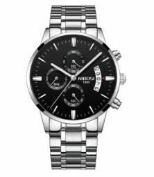 Relógio Masculino De Luxo Nibosi Prateado em Aço Inoxidável