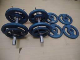 Kit para Musculação com 36Kg em Anilhas, 2 Halteres e Presilhas!
