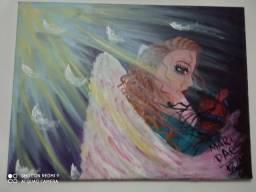 Quadro anjo entre luz e trevas