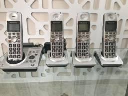 Kit Telefone com Secretária Eletrônica Panasonic 6.0 + 3 Bases Telefone Sem Fio